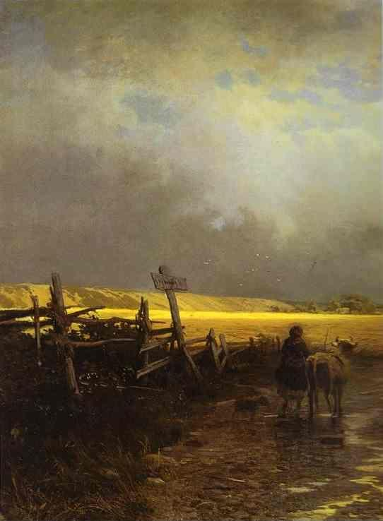 Feodor Vasilyev. After a Rain. Country Road. Detail.