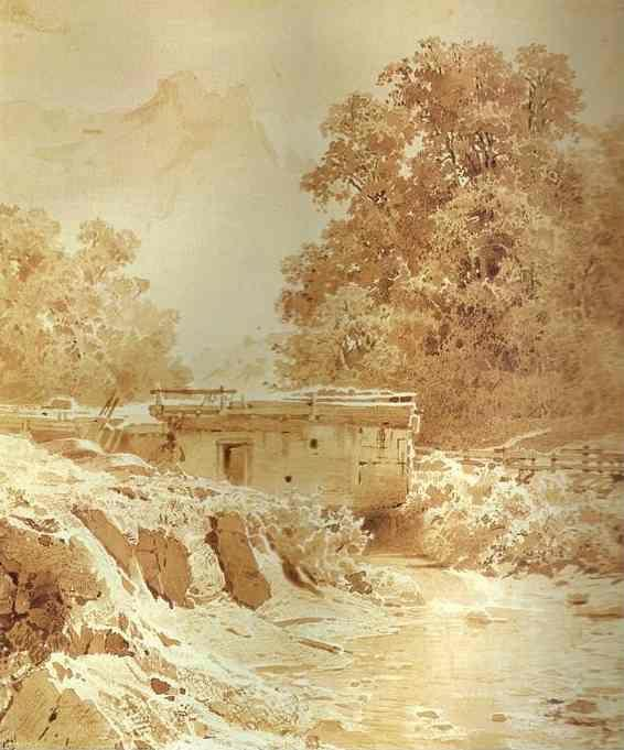 Feodor Vasilyev. Water Mill on a Mountain River. Crimea.