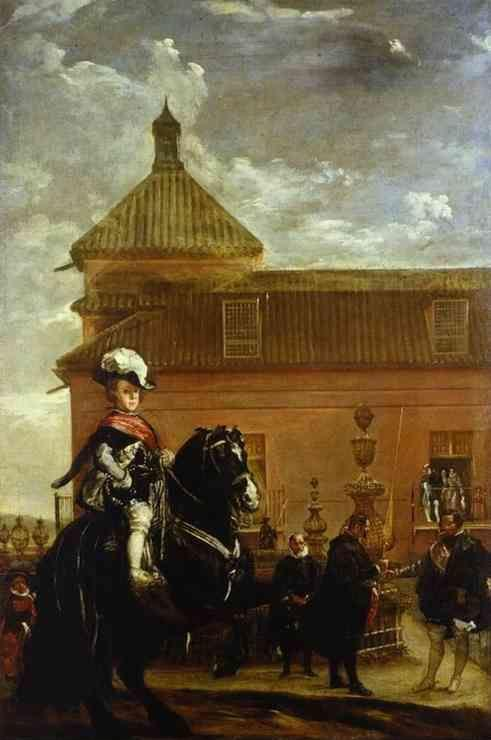 Diego Velázquez. Prince Baltasar Carlos with the Count-Duke of Olivares at the Royal Mews.