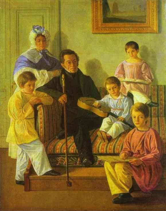 Evgraf Krendovsky. The Family Portrait of A. Bashilov with His and Count de Balman's Children.