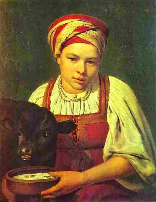 Alexey Venetsianov. A Peasant Girl with a Calf.
