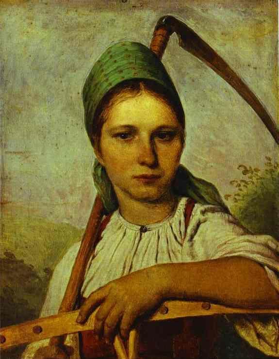 Девушка с косой и граблями - Венецианов Алексей Гаврилович.