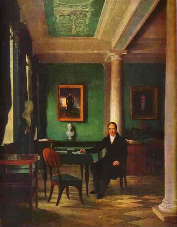 Alexey Venetsianov. Portrait of the State Chancellor of the Internal Affairs, Prince Victor Pavlovich Kochubey in his Study.