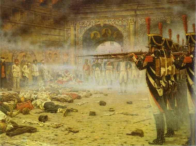 "Vasily Vereshchagin. In Defeated Moscow  (""Arsonists"" or ""Shooting in the Kremlin"")."