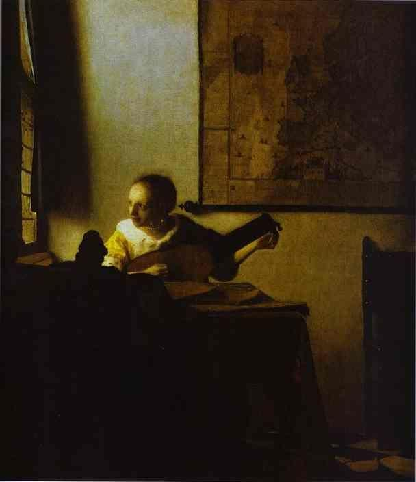 Jan Vermeer. Woman Playing a Lute near a Window.