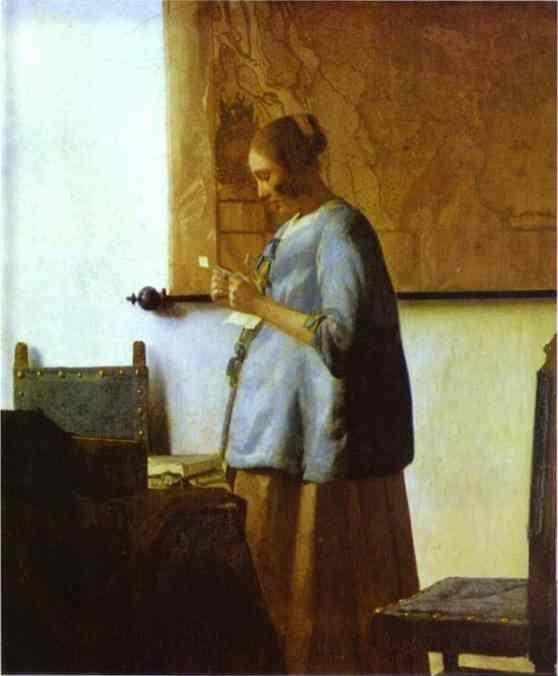 Jan Vermeer. Woman in Blue Reading a Letter.