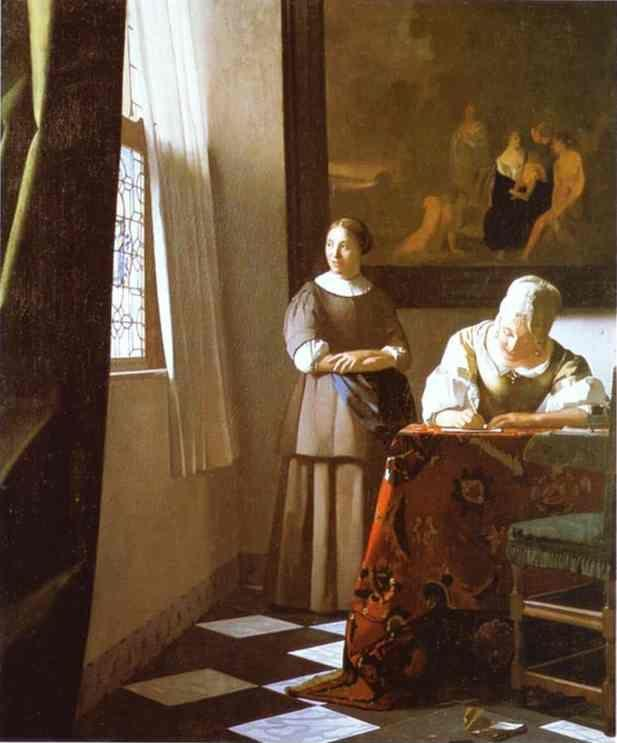 Jan Vermeer. Lady Writing a Letter with Her Maid.