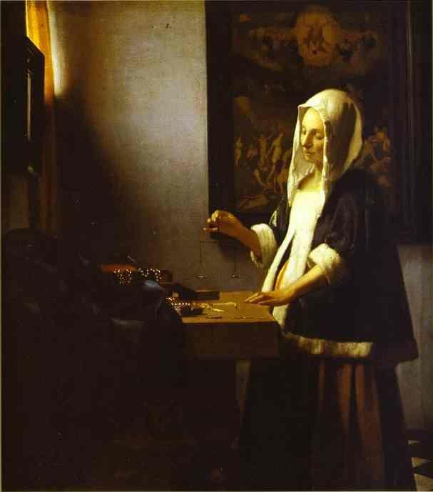 Jan Vermeer. Woman Weighing Pearls.