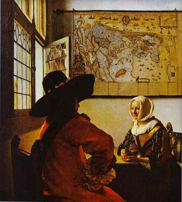 Jan Vermeer. Soldier and a Laughing Girl.