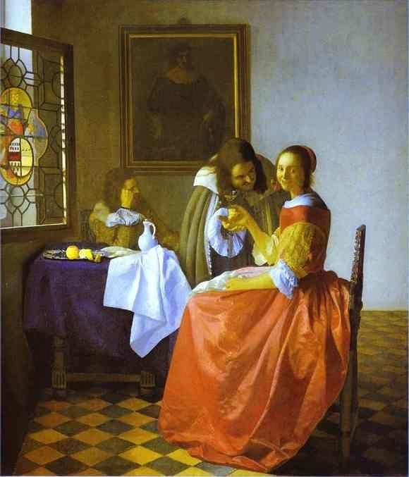 Jan Vermeer. Woman and Two Man.