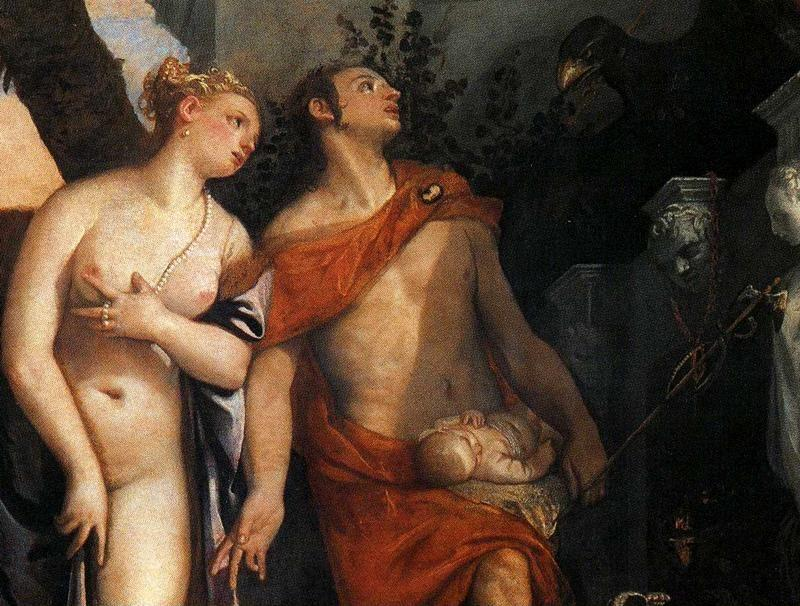 Paolo Veronese. Venus and Mercury Present Eros and Anteros to Jupiter. Detail.