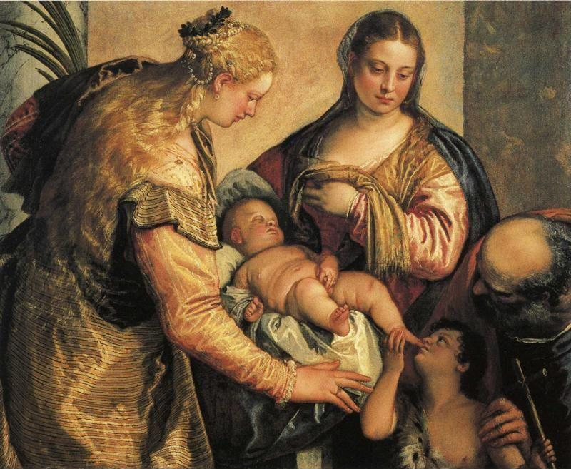 Paolo Veronese. The Holy Family with St.Barbara and the Young St. John the Baptist.