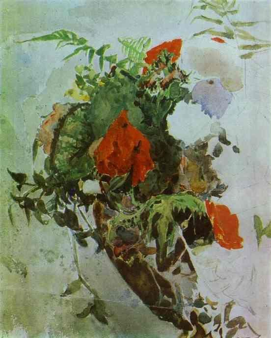 Mikhail Vrubel. Red Flowers and Leaves of Begonia in a Basket.