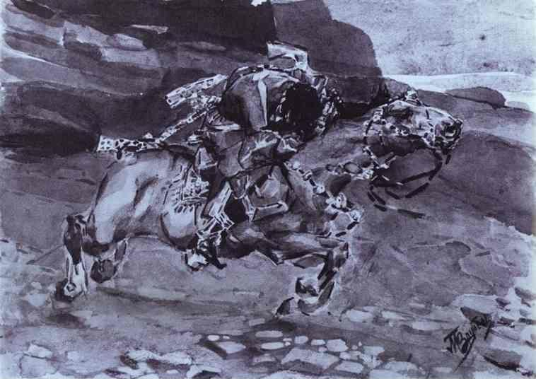 Mikhail Vrubel. Rider. Rider. Illustration for The Demon by Mikhail Lermontov.