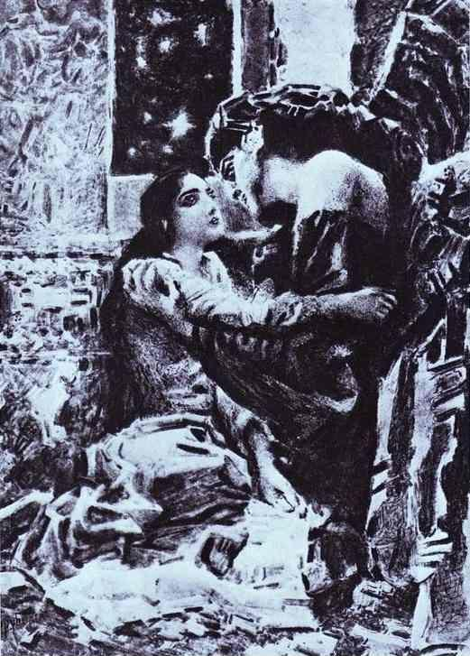 Mikhail Vrubel. Tamara and Demon. Illustration for The Demon by Mikhail Lermontov.