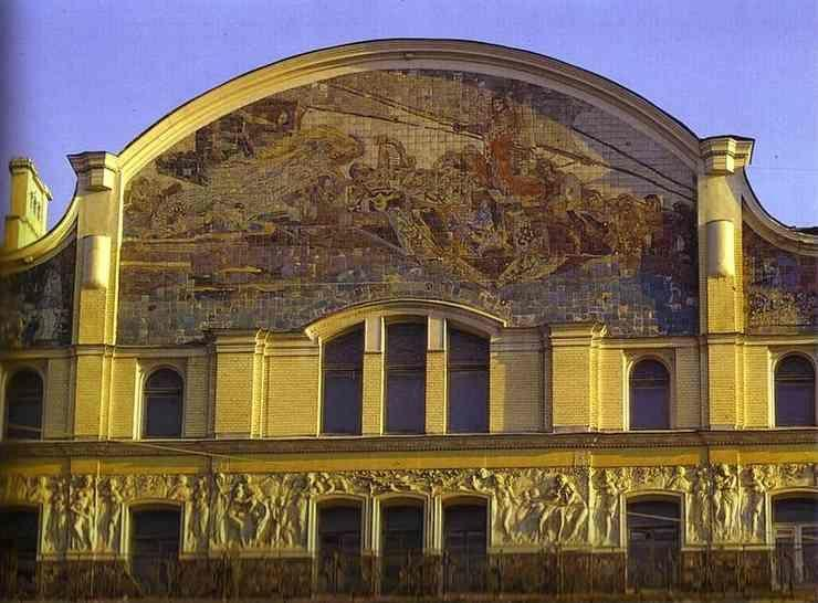 Mikhail Vrubel. The part of the facade of the Hotel Methropol with Vrubel's tile panel.