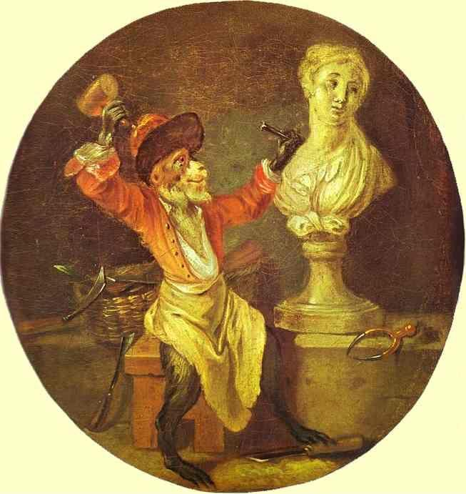 Jean-Antoine Watteau. The Monkey Sculptor.