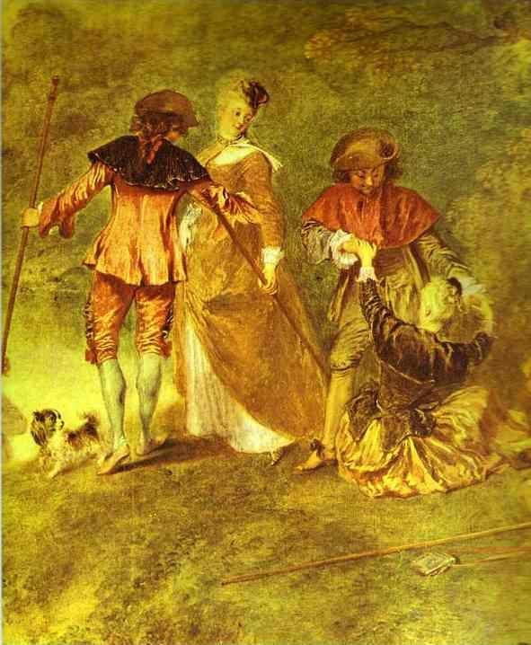 Jean-Antoine Watteau. Embarkation for Cythera, or The Pilgrimage to Cythera. Detail.