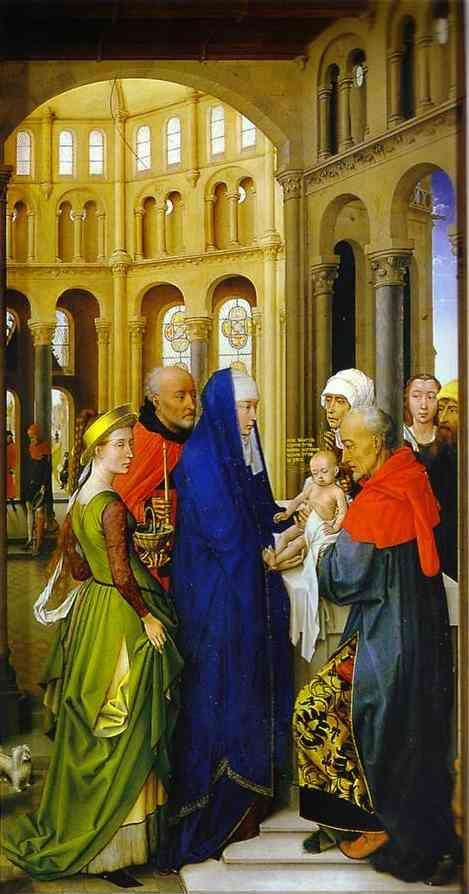 Rogier van der Weyden. St. Columba Altarpiece. Presentation in the Temple. The right panel.