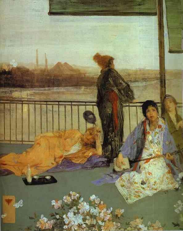 James Abbott McNeill Whistler. Variations in Flesh Color and Green: The Balcony.