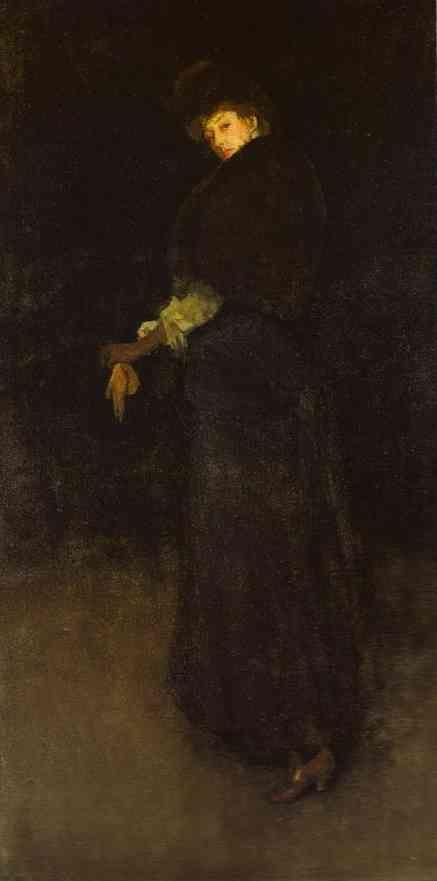 James Abbott McNeill Whistler. Arrangement in Black; The Lady in the Yellow Buskin - Portrait of Lady Archibald Campbell.