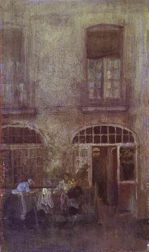 James Abbott McNeill Whistler. White and Grey: The Hotel Courtyard, Dieppe.