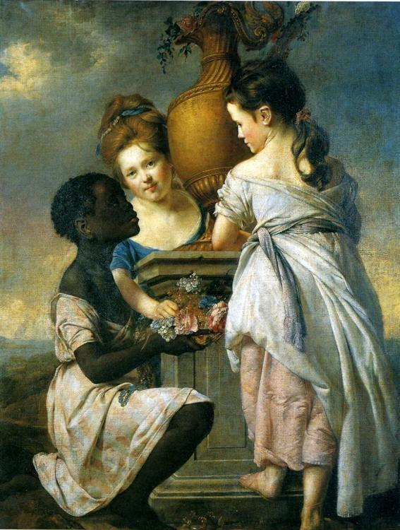 Joseph Wright of Derby. A Conversation of Girls (Two Girls with Their Black Servant).