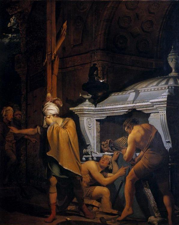 Joseph Wright of Derby. Miravan Breaking Open the Tomb of His Ancestors.