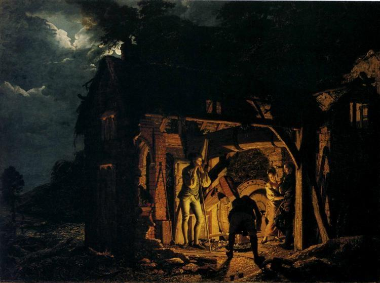 Joseph Wright of Derby. An Iron Forge Viewed from Without.