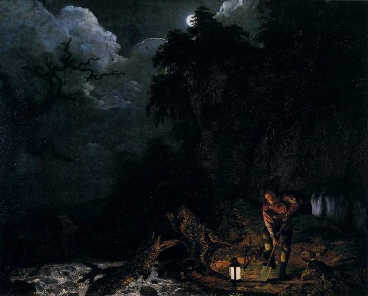 Joseph Wright of Derby. The Earthstopper on the Banks of the Derwent.