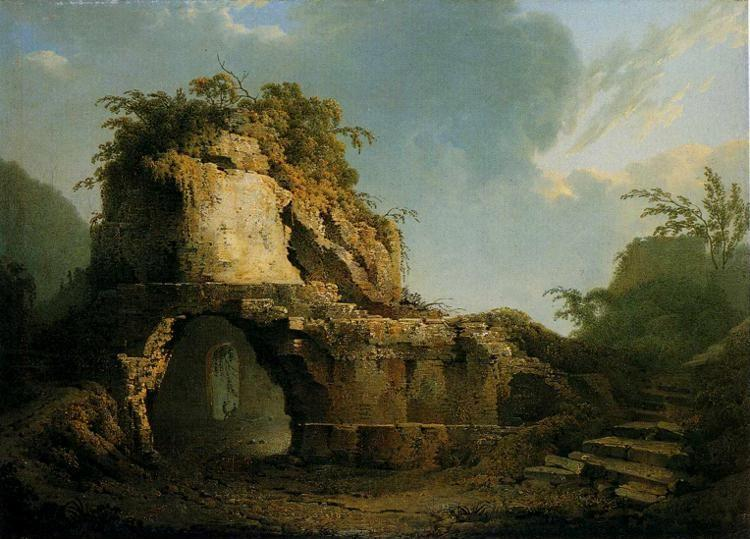Joseph Wright of Derby. Virgil's Tomb: Sun Breaking through a Cloud.