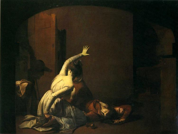 "Joseph Wright of Derby. Romeo and Juliet. The Tomb Scene. ""Noise again! then I'll be brief""."
