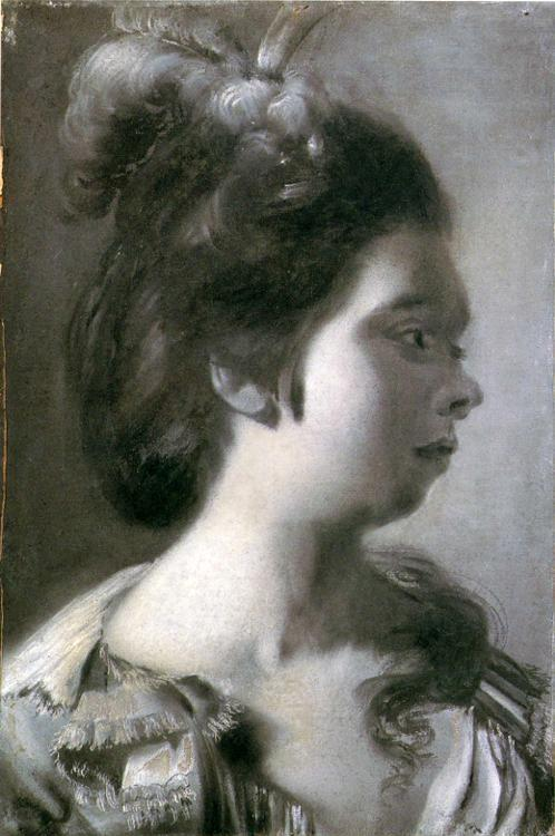 Joseph Wright of Derby. Study of a Young Girl with Feathers in Her Hair.