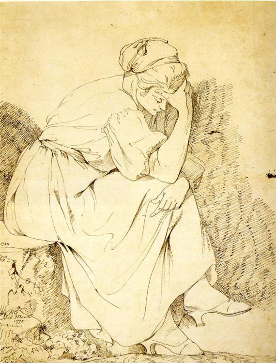 Joseph Wright of Derby. Study of Melancholy Girl.