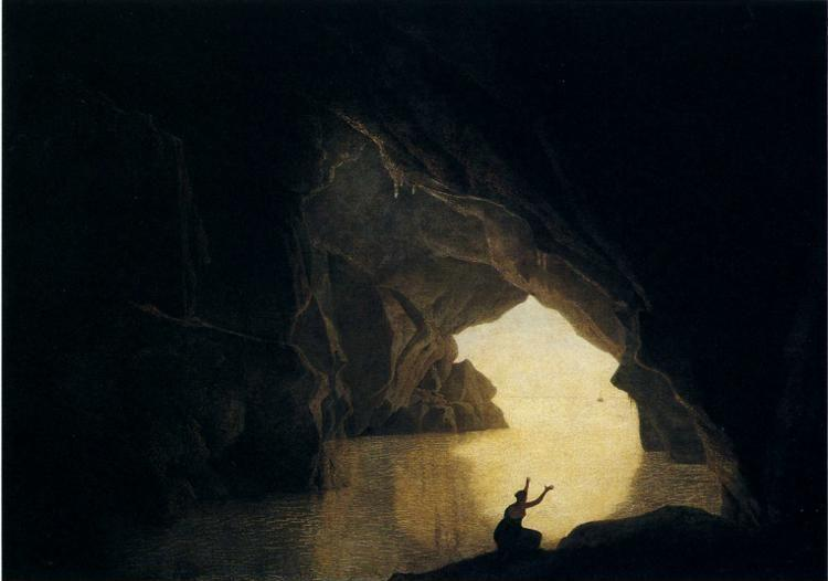 Joseph Wright of Derby. A Grotto in the Gulf of Salernum, with the Figure of Julia, Banished from Rome.