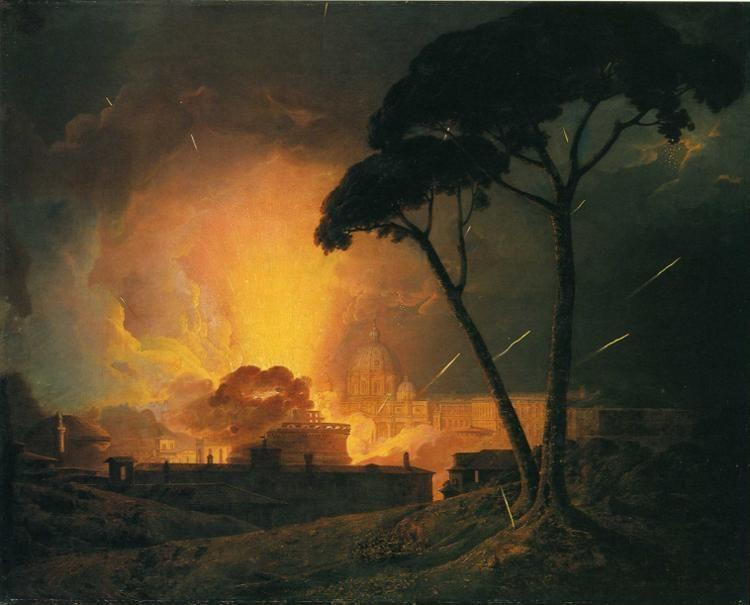 Joseph Wright of Derby. The Annual Girandola, at the Castle of St. Angelo, Rome.