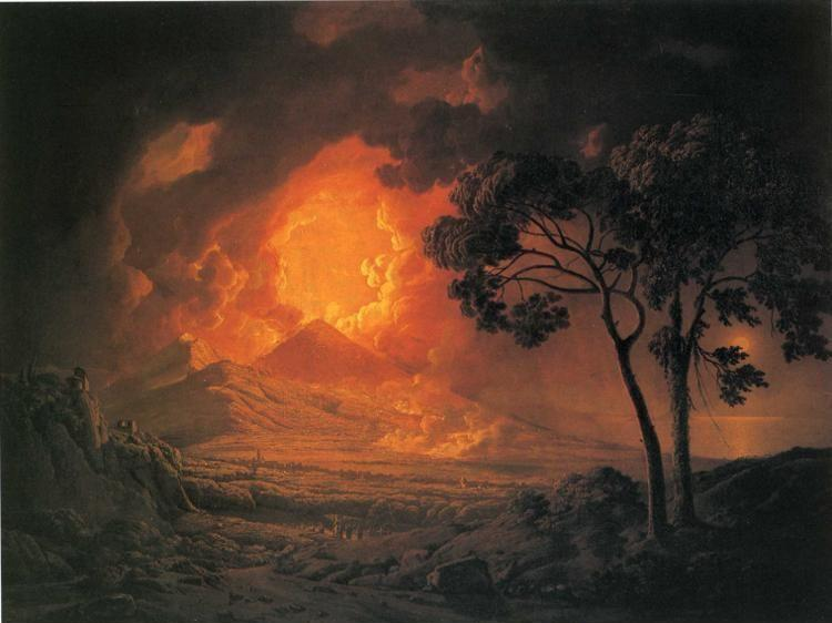 Joseph Wright of Derby. An Eruption of Mount Vesuvius, with the Procession of St. Januarius's Head.