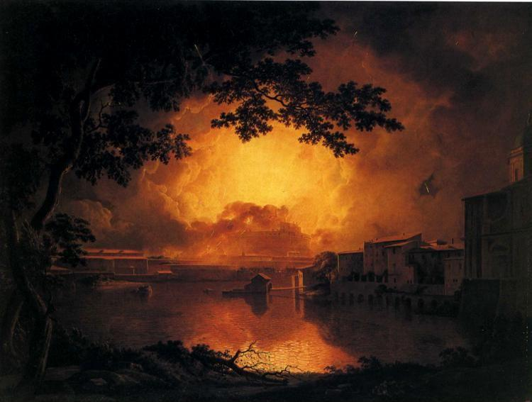 Joseph Wright of Derby. The Girandola, or Grand Fire Work at the Castle of St. Angelo in Rome.