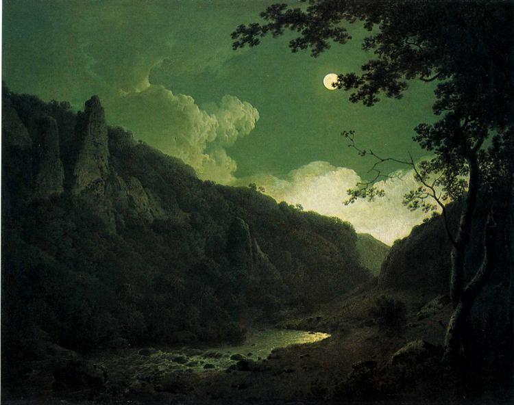 Joseph Wright of Derby. Dovedale by Moonlight.