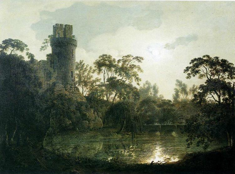 Joseph Wright of Derby. Moonlight with a Lake and Castellated Tower.