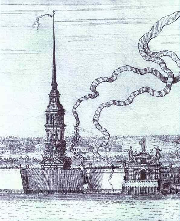 Alexey Zubov. View of St. Petersburg. Detail: SS. Peter and Paul Fortress, Bell-Tower of SS. Peter and Paul Cathedral.