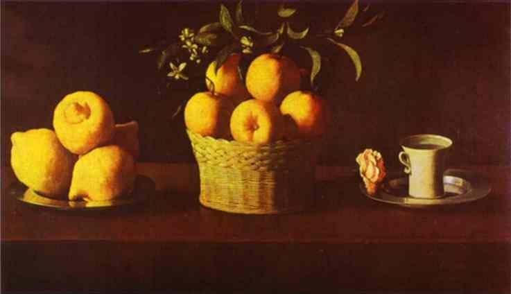 Francisco de Zurbarán. Still Life with Lemons, Oranges and Rose.