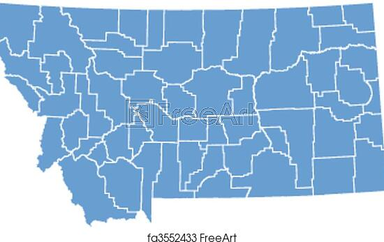 graphic regarding Printable Map of Montana referred to as Cost-free artwork print of Vector map Montana