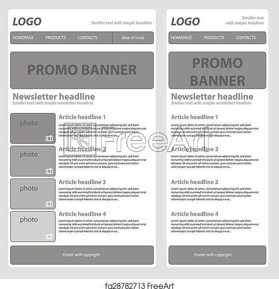 free art print of responsive newsletter template for business or non