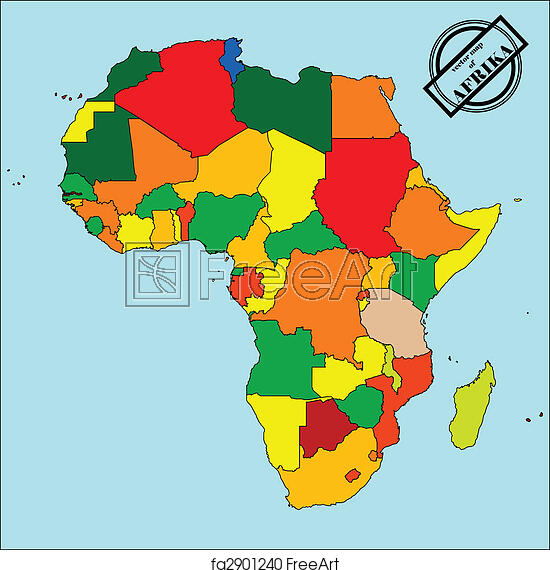 Free art print of Map of africa. Political map of africain colors ...