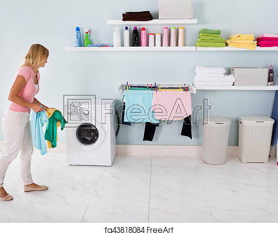 Free Art Print Of Woman Walking With Clothes In Utility Room